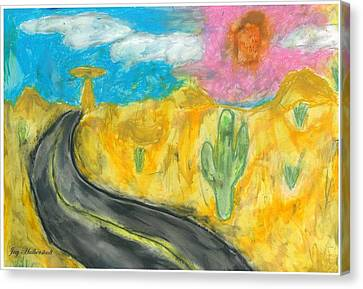Canvas Print featuring the pastel Desert Road by Artists With Autism Inc