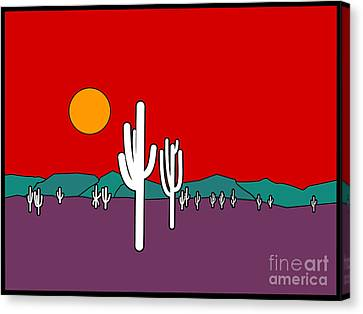 Turquoise Stained Glass Canvas Print - Desert Sunset by Methune Hively