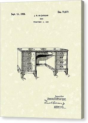 Drawers Canvas Print - Desk 1926 Patent Art by Prior Art Design