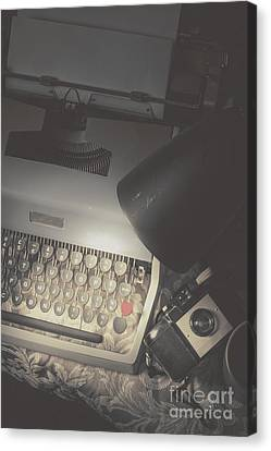 Desk Of A Vintage Private Eye Investigator Canvas Print by Jorgo Photography - Wall Art Gallery
