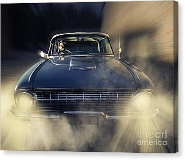 Detective Man Driving Old Classic Car At Pace Canvas Print by Jorgo Photography - Wall Art Gallery