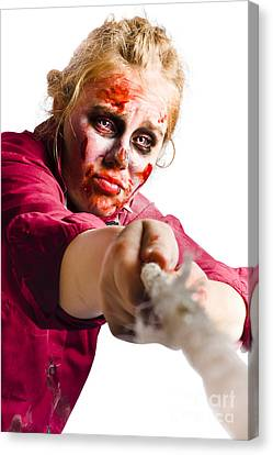 Determined Woman With Rope Canvas Print