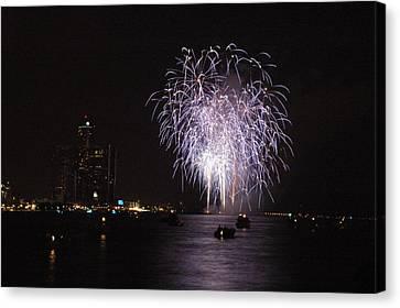 Detroit Fireworks Canvas Print by Gary Marx