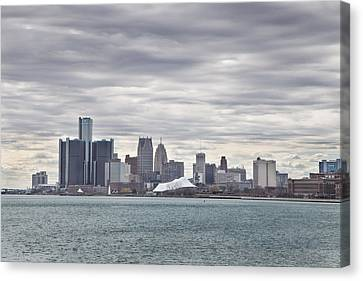 Detroit Skyline From Belle Isle Canvas Print by John McGraw