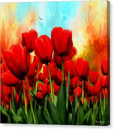 Devotion To One's Love- Red Tulips Painting Canvas Print