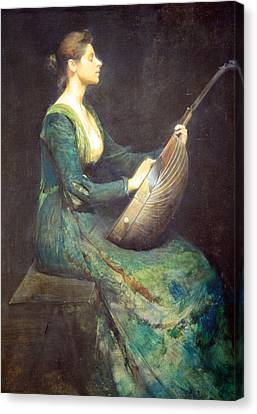 Dewing's Lady With A Lute Canvas Print by Cora Wandel