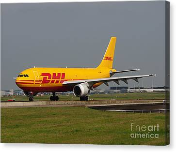 Klm Canvas Print - Dhl Airbus A300 by Paul Fearn