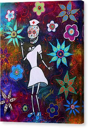 Dia De Los Muertos Nurse Canvas Print by Pristine Cartera Turkus