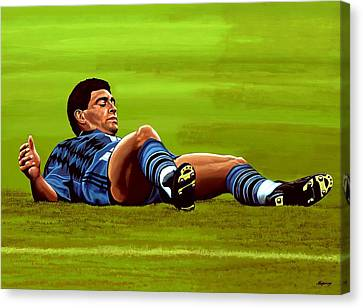 Diego Maradona 2 Canvas Print by Paul Meijering
