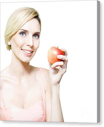 Dietician Or Nutritionist Holding Fruit Canvas Print