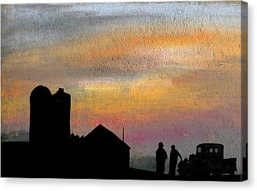Discussing The State Of Things Canvas Print by R Kyllo
