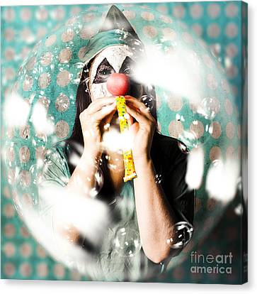Doctor Clown Blowing Party Horn At Monster Party Canvas Print by Jorgo Photography - Wall Art Gallery