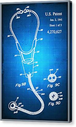 Technical Canvas Print - Doctor Stethoscope 2 Patent Blueprint Drawing Sepia by Tony Rubino