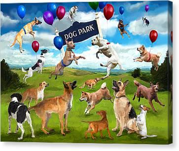 Dog Park Party Canvas Print