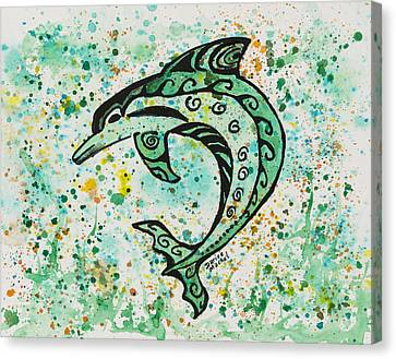 Canvas Print featuring the painting Dolphin 2 by Darice Machel McGuire