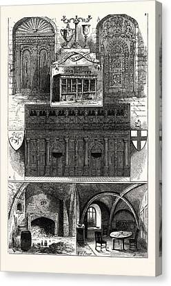 1. Door From The Middle Temple. 2. Wig-shop In The Middle Canvas Print by English School