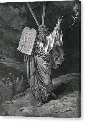 Old Man With Beard Canvas Print - Dore, Paul Gustave 1832-1883. La Sainte by Everett