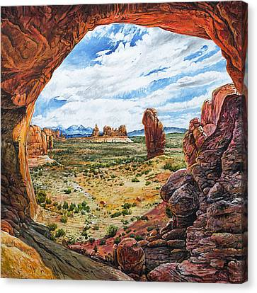 Canvas Print featuring the painting Double Arch by Aaron Spong