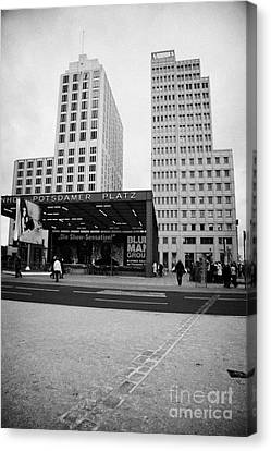 double row of bricks crossing Potsdamer Platz to signify the previous position of the berlin wall Berlin Germany Canvas Print by Joe Fox