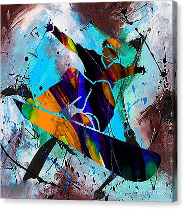 Alpine Canvas Print - Downhill Racer by Marvin Blaine
