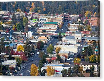 Downtown Bend Oregon From Pilot Butte Canvas Print by Twenty Two North Photography