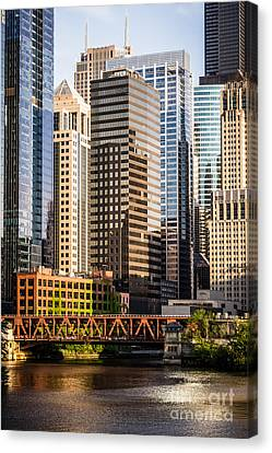 Downtown Chicago Buildings At Lake Street Bridge Canvas Print by Paul Velgos