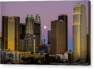 Downtown Los Angeles Moonrise Canvas Print by Joe Doherty
