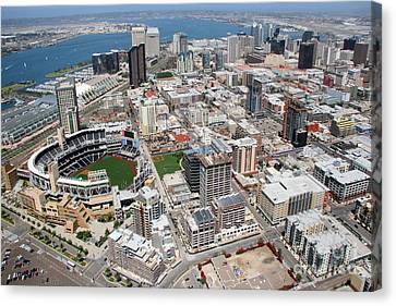 San Diego California Baseball Stadiums Canvas Print - Downtown San Diego by Bill Cobb