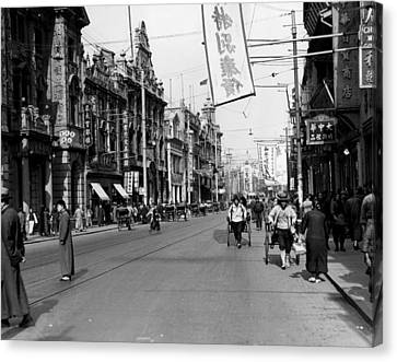 Downtown Shanghai Canvas Print by Retro Images Archive