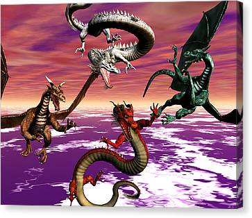 Dragon Attack Canvas Print by Michele Wilson