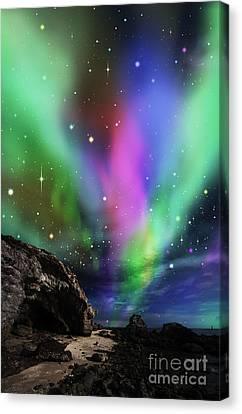 Dramatic Aurora Canvas Print by Atiketta Sangasaeng