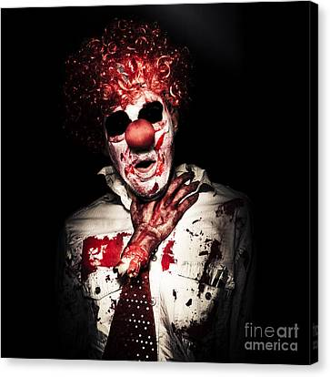 Dramatic Sinister Clown Getting Strangled By Hand Canvas Print by Jorgo Photography - Wall Art Gallery