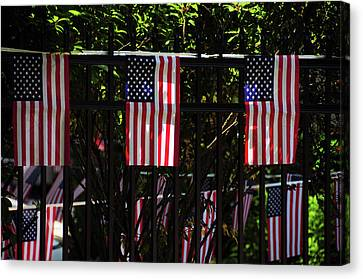 Draped Flags, July 4th, Parade Canvas Print by Michel Hersen