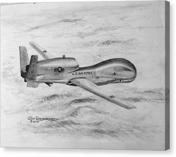 Canvas Print featuring the drawing Drone Rq-4 Global Hawk by Jim Hubbard