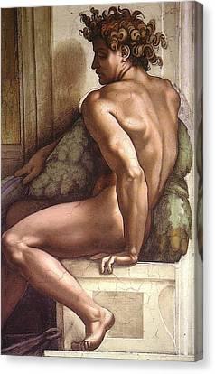Drunkenness Of Noah - Ignudo Detail Canvas Print by Michelangelo Buonarroti