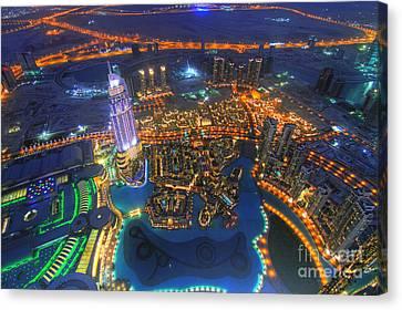 Dubai At Night Canvas Print by Lars Ruecker