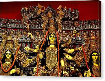 Durga Statue The Hindu Goddess #2 Canvas Print by Amitava Ray