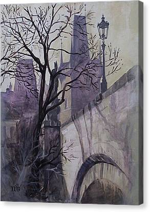 Canvas Print featuring the painting Dusk At The Charles Bridge by Marina Gnetetsky