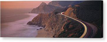 Dusk Highway 1 Pacific Coast Ca Usa Canvas Print by Panoramic Images