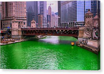 Dyeing The Chicago River Green Canvas Print by Jerome Lynch
