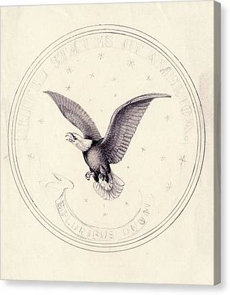 Eagle Design For Us Coin Canvas Print by American Philosophical Society