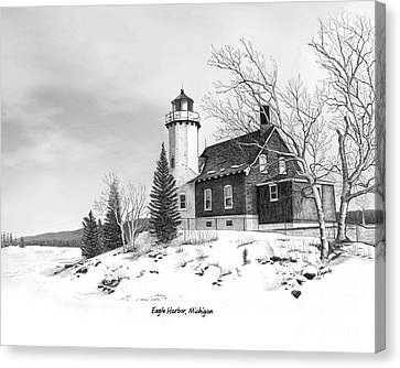 Eagle Harbor Lighthouse Titled Canvas Print by Darren Kopecky