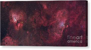 Eagle Nebula And Swan Nebula Canvas Print by Roberto Colombari