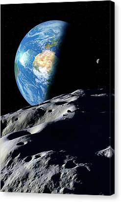 Planetoid Canvas Print - Earth And Asteroid by Detlev Van Ravenswaay