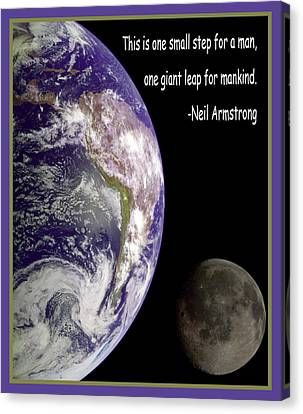 Earth And Moon Neil Armstrong Quote Canvas Print by Nasa