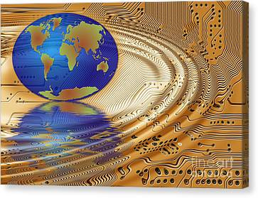 Earth In The Printed Circuit Canvas Print by Michal Boubin