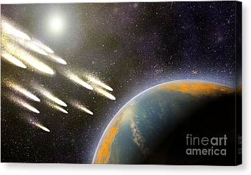 Earths Cometary Bombardment, Artwork Canvas Print by Equinox Graphics