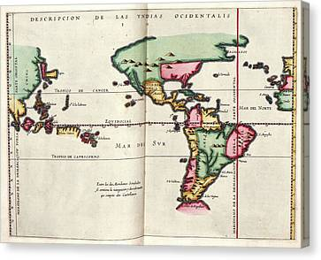1622 Canvas Print - East And West Indies by Library Of Congress, Geography And Map Division