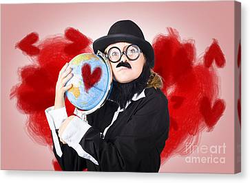 Eccentric Man Showing World Love By Cuddling Globe Canvas Print by Jorgo Photography - Wall Art Gallery