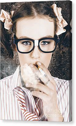 Edgy Grunge Portrait Of A Smoking Hipster Nerd Canvas Print